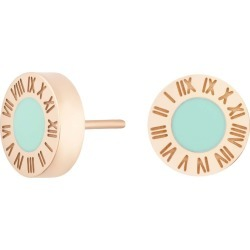 Florence London - Rose Gold Florence Studs With Turquoise Enamel