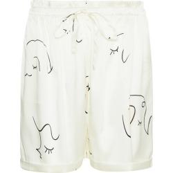 NOT JUST PAJAMA - Face Line Art Printed Silk Shorts - White