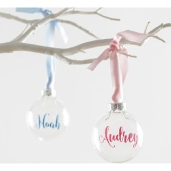 Personalised baby glass bauble