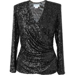 Women's Black Fabric Stella Top Rain Sequins XS Mellaris