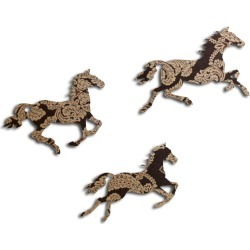 Brown and Gold Print Galloping Horses