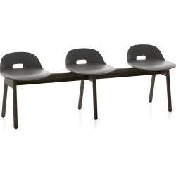 Alfi 3 Seater Bench, Low Back Dark Grey, Dark Stained Ash Frame