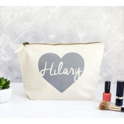 Personalised Heart Make Up Bag