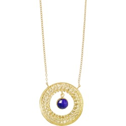 Ottoman Hands - Semiramis Embossed Circle & Lapis Necklace