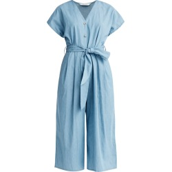 PAISIE - Denim Button Front Jumpsuit In Blue found on Bargain Bro from Wolf & Badger US for USD $140.60