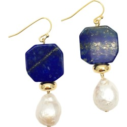 Farra - Natural Lapis Lazuli & Freshwater Edison Pearl Drop Earrings found on Bargain Bro India from Wolf & Badger US for $93.00