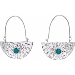Yvonne Henderson Jewellery - Silver Semi Circle Boho Drop Earrings With Turquoise found on Bargain Bro India from Wolf & Badger US for $121.00