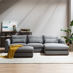 Alfie Chaise Sectional Sofa Right Hand Facing, Checked Gray