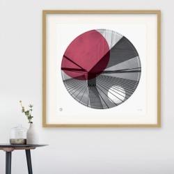 Anzac Bridge Sydney circle print in ruby