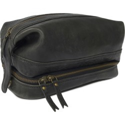 VIDA VIDA - Wandering Soul Black Leather Wash Bag With Zip Bottom found on Bargain Bro UK from Wolf and Badger