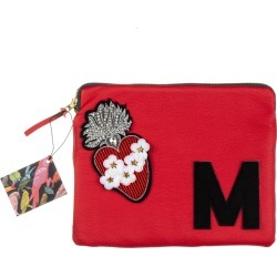 Laines London - Embellished Flower Heart Personalised Classic Leather Clutch Bag - Large - Red & Black found on Bargain Bro UK from Wolf and Badger