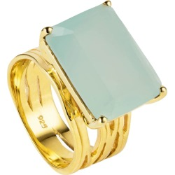 Neola - Pietra Gold Cocktail Ring With Aqua Chalcedony found on Bargain Bro India from Wolf & Badger US for $237.00