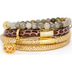 Italian Leather Bracelet Stack with an Agate Bracelet & Gold Charm