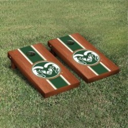 Colorado State Rams Cornhole Game Set Rosewood Stained Stripe