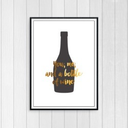 You, Me, and a Bottle of Wine - Gold Foil Art Print for Wine Lovers