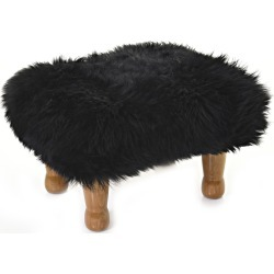 Anwen - Sheepskin Footstool Coal Black found on Bargain Bro UK from Clippings