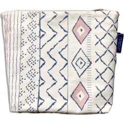 The Humble Cut - Boho Wash Bag - Dark Blue & Dusky Pink on Unbleached Canvas found on Bargain Bro UK from Wolf and Badger