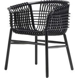 Lukis Armchair Black-Stained Rattan in Black Stained Wood, Large