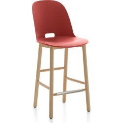 Alfi Counter Stool, High Back Red, Natural Light Ash Frame