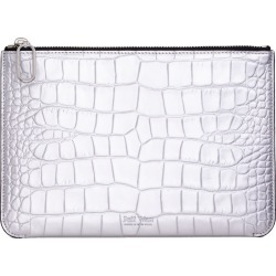 Jeff Wan - Silver Embossed Crocodile Leather Zip Clutch Port Louis Pouch found on Bargain Bro from Wolf & Badger US for USD $121.60