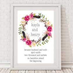 Personalised Floral Wedding Print