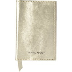 VIDA VIDA - Travel Addict Gold Leather Passport Cover found on Bargain Bro India from Wolf & Badger US for $40.00