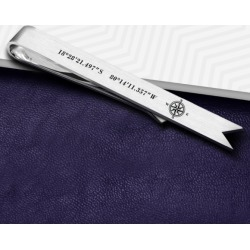 Personalised coordinates bookmark in sterling silver