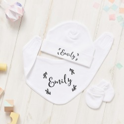 Personalised Floral Baby Hat, Bib And Mitt Gift Set found on Bargain Bro from hardtofind.com.au for USD $26.04