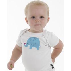 Blue elephant baby romper