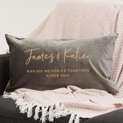 Personalised couple's velvet cushion