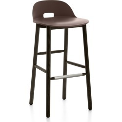 Alfi Barstool, Low Back Dark Brown, Dark Stained Ash Frame