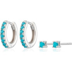 Scream Pretty - Silver Turquoise Stone Huggie & Tiny Stud Set Of Earrings found on Bargain Bro from Wolf & Badger US for USD $61.56