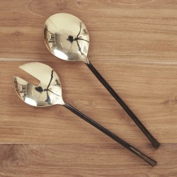 Ayu Salad Servers in Brass