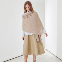 Oversized Cashmere Travel Wrap in Wheat