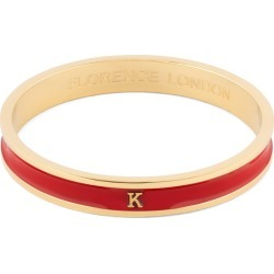 Florence London - Initial K Bangle 18Ct Gold Plated With Red Enamel