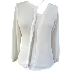 NOT - Long Sleeve White Blouse With Asymmetric Cord Detail