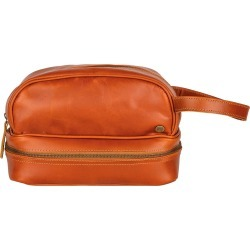 MAHI Leather - Buffalo Leather Raleigh Toiletry Bag In Tan found on MODAPINS from Wolf and Badger for USD $95.69