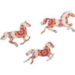 Orange Flower Print Galloping Horses