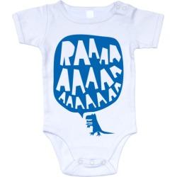 RAAAAA dinosaur onesie in blue on white