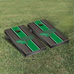 North Texas Mean Green Cornhole Game Set Onyx Stained Stripe