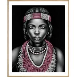 Tribal Girl with Lip Ring. Framed Print