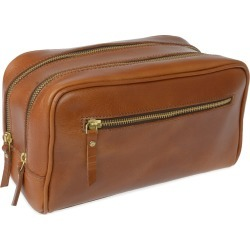 VIDA VIDA - 'The Double-Up' Tan Leather Wash Bag (3 Zip) found on Bargain Bro from Wolf & Badger US for USD $82.08