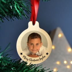 Personalised gold metal photo christmas bauble set
