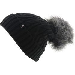 The North Face Women's Oh-Mega Fur Pom Beanie Black Hats One Size