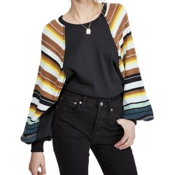 Free People Women's Rainbow Dreams Black Knit Tops S