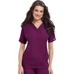 Cherokee Medical Uniforms V-Neck Top Burgundy Shirts 2X found on Bargain Bro from Shoemall.com for USD $18.99
