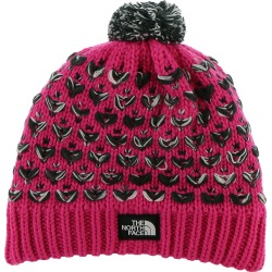 The North Face Girls' Chunky Pom Beanie Pink Hats One Size
