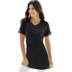 Women's Rolled-Sleeve Tunic Black Knit Tops S