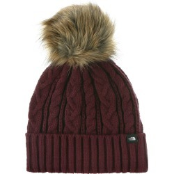 The North Face Women's Oh-Mega Fur Pom Beanie Red Hats One Size