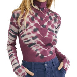Free People Women's Psychedelic Turtle Burgundy Knit Tops XS
